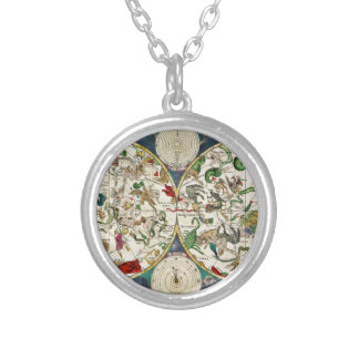 Historic Zodiac Map, 1670 Silver Plated Necklace