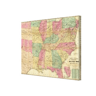 Historical and Military Map of the US Gallery Wrapped Canvas
