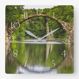 Historical bridge east germany square wall clock
