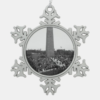 Historical Bunker Hill Monument Photograph Snowflake Pewter Christmas Ornament