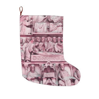 Historical, Christian sculptures Notre Dame Paris Large Christmas Stocking