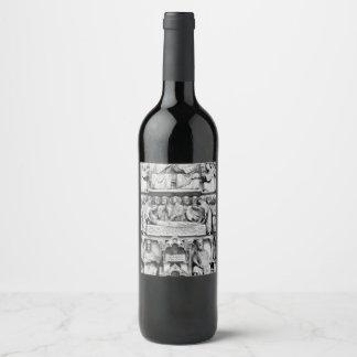Historical, Christian Sculptures Notre Dame Paris Wine Label