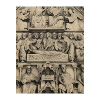 Historical, Christian Sculptures Notre Dame Paris Wood Print