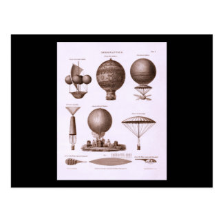 Historical Hot Air Balloon Designs Vintage Image Postcard