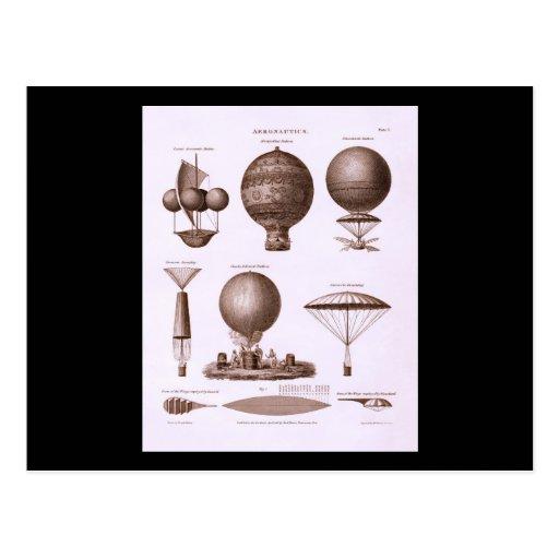 Historical Hot Air Balloon Designs Vintage Image Post Card
