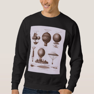 Historical Hot Air Balloon Designs Vintage Image Sweatshirt