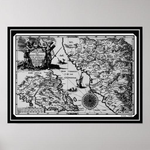 Historical Map Mexico California 1702 Canvas Print