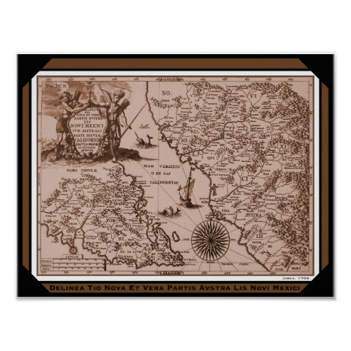 Historical Map Mexico California 1702 poster/print
