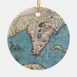 Historical Map of Florida (1591) Ceramic Ornament