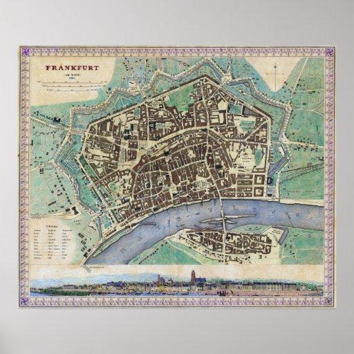 Historical Map of Frankfurt Germany Am Mayn 1845 Print