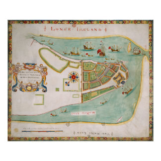 Historical Map of New York City (1664) Poster