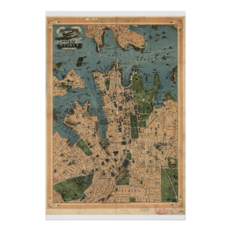 Historical Map of Sydney Australia  1922 Poster