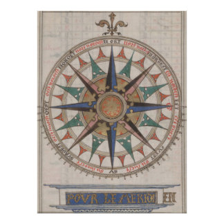 Historical Nautical Compass (1543) Poster