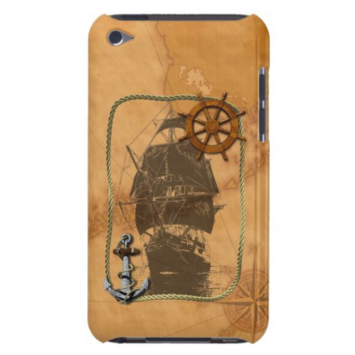 Historical Sailing Ship And Nautical Map iPod Touch Cases