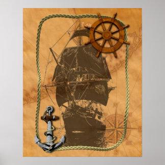 Historical Sailing Ship And Nautical Map Poster