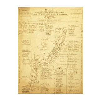 History of Exploration of the Grand Canyon Map Stretched Canvas Prints