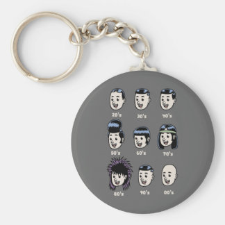 History of Mens Hair Basic Round Button Key Ring