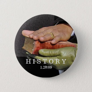 HISTORY: President Obama Hand on Lincoln Bible 6 Cm Round Badge