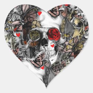 History repeats, floral skull pattern heart sticker