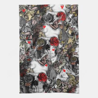 History repeats, rose skull pattern tea towel