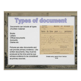 History, World War I, Types of documents Poster