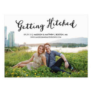 Hitched   Save the Date Postcard