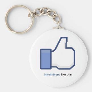 Hitchhiker Facebook Symbol Keychain