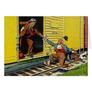 Hitching a Free Ride Train Railroad Box-Car Card