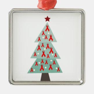 HIV Aids Awareness Christmas Tree Metal Ornament