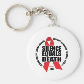 HIV/AIDS: Silence Equals Death Basic Round Button Key Ring