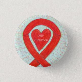 HIV Awareness Heart Ribbon Custom Art Pin