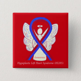 HLHS Awareness Ribbon Angel Custom Button Pins
