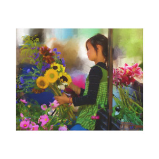 Hmong Flower Girl Stretched Canvas Prints