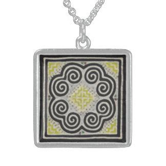Hmong Shaman Charm Square Pendant Necklace