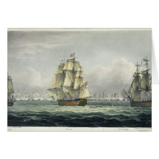 HMS Victory sailing for the French line flanked by Card