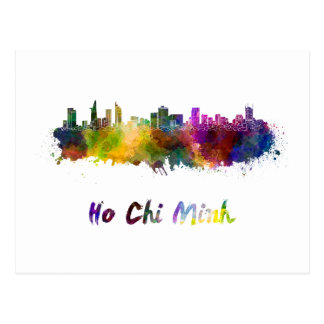 Ho Chi Minh skyline in watercolor Postcard