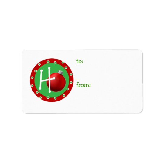 Ho Christmas Ball Gift Tag