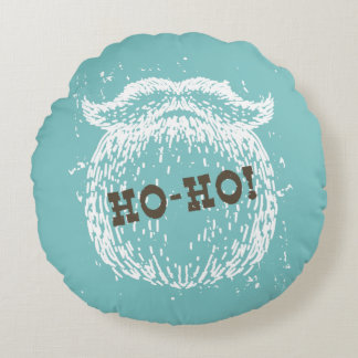 Ho-Ho Christmas Holiday Santa Noel Round Cushion