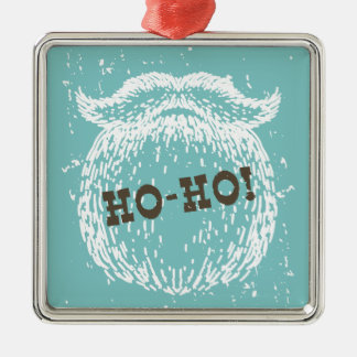 Ho-Ho Christmas Holiday Santa Noel Silver-Colored Square Decoration