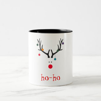 Ho ho funny cute minimalist Santa's reindeer Two-Tone Coffee Mug