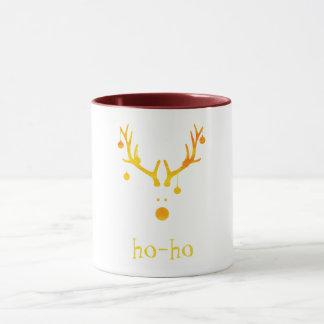 Ho ho funny cute modern Santa's reindeer gold Mug
