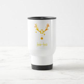 Ho ho funny cute modern Santa's reindeer gold Travel Mug