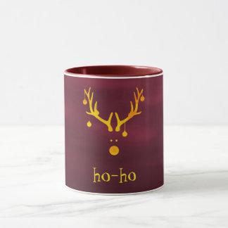 Ho ho funny modern Santa's reindeer gold burgundy Mug