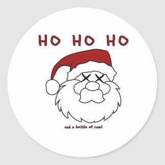HO HO HO and a bottle of rum! Classic Round Sticker