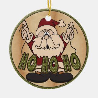 Ho Ho Ho Chirstmas Santa Round Ceramic Decoration