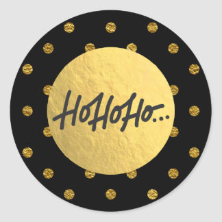 HO HO HO Christmas Black Polka Dots Gold Foil Classic Round Sticker