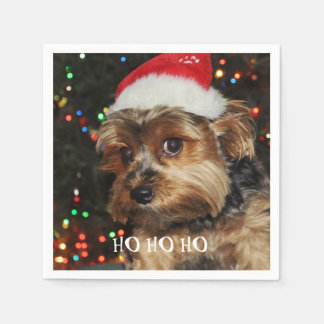 HO HO HO, Christmas,Cute Yorkshire terrier Disposable Napkins