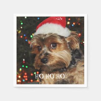 HO HO HO, Christmas,Cute Yorkshire terrier Disposable Serviette