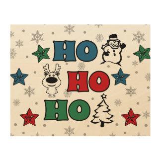 Ho-Ho-Ho Christmas design Wood Print