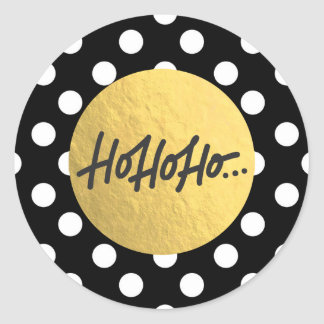 HO HO HO Christmas Holiday Black White Polka Dots Classic Round Sticker